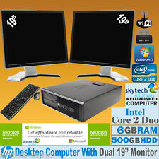 "HP COMPUTER CORE 2 Duo a 2x 19 "" TFT multischermo Set completo economico pc"