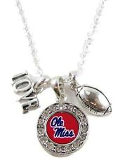 Ole Miss Mississippi Rebels Multi Charm Love Football Silver Necklace Jewelry UM