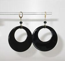 ~~HUGE VINTAGE 60's BLACK MELAMINE SPLAYED HOOP EARRINGS!~~
