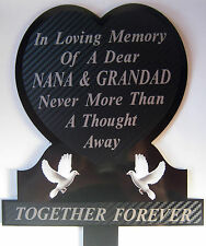 Memorial Plaque Grave Heart Personalised NANA & GRANDAD  In Loving Memory