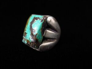 Antique Navajo Ring - Sterling Silver and Turquoise - Large