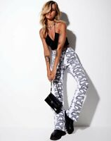 MOTEL ROCKS Zoven Trousers in Dragon Rope White XS (MR40)