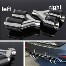 2x 66MM Car Dual Pipe Exhaust End Tip Tail Throat Carbon Fiber + Stainless Steel