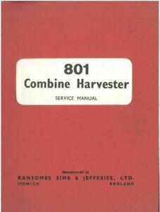 Ransomes Combine 801 Workshop Service Manual