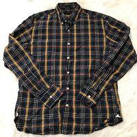 J Crew Mens Size Medium Slim Fit Blue & Yellow Plaid Long Sleeve Button Shirt