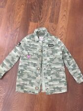 Justice Army Green CAMO Patches Twill Jacket Coat 8/10