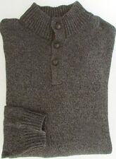 NWT Chaps Sweater Pullover w/Suede Placket Charcoal Heather Size L
