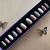 Hand Painted False Nails - Coffin (or longer) - Dusky Pink White Glitter SHAPES