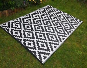 Indoor/Outdoor Waterproof Plastic Large Rug Garden Patio Grey / Black 120 x 180
