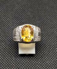 Natural Citrine Gemstone 14K White Gold Men's Ring