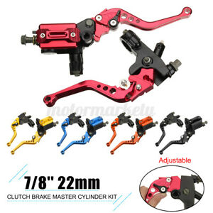 """Red 7/8"""" 22mm Universal Motorbike Motorcycle Brake Clutch Master Cylinder Levers"""