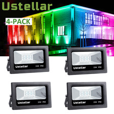 4 Pack 15W RGB LED Flood Lights Stage Light Waterproof Outdoor Spotlight Lamp