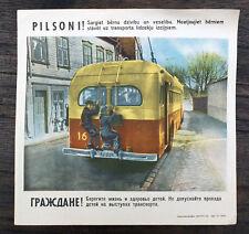 1950s Soviet Russian Original Vintage POSTER TRAFFIC SAFETY Boys on Bus