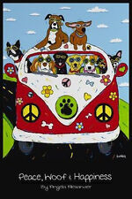 PEACE, WOOF & HAPPINESS - ART POSTER 24x36 - CUTE DOGS PETS 001