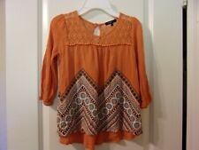 Takara Girl's Size M 3/4 to Long Sleeve Orange Top Lace Upper Floral Geometric