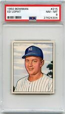 1950 BOWMAN BASEBALL #215 ED LOPAT, NEW YORK YANKEES - PSA 8 NM-MT (24304)