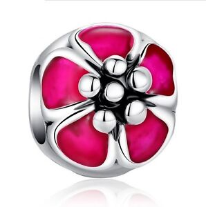 High Quality Silver Plated Red Flora Flower Bead Charm Fits Bracelet