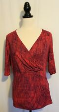 DIANA FERARRI ~ Watermelon Red & Navy Blue Geometric VIscose Faux Wrap Top 16