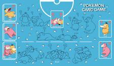 Pokemon Custom Playmat (+ FREE BAG) Kanto Psyduck Slowpoke Blue Water Play Mat