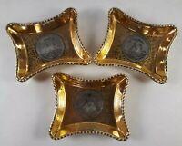 3 Vintage - Le Mieux China 24kt Gold & Platinum Hand Decorated Ashtrays