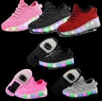 Heelys Shoes Two-wheeled Student Automatic Roller Skates Teens Illuminated Shoes