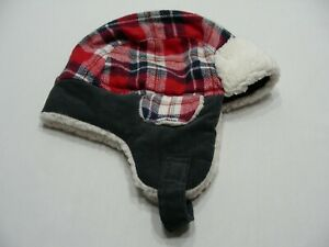 Blue & Red Plaid with Gray Corduroy - Toddler Size Trapper Aviator Cap Hat!