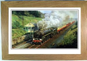 Steam train halted at a signal box, framed print picture, Steam locomotive