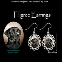 LABRADOR RETRIEVER DOG  Black Adult - SILVER FILIGREE EARRINGS Jewelry