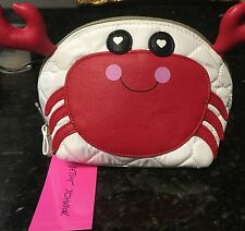 BETSEY Johnson PINCH ME CRAB Makeup Cosmetic Bag NWT Quilted Hearts