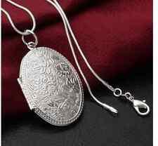 Filigrane Kette Halskette oval Foto Anhänger SILBER Style Blogger Simple Damen