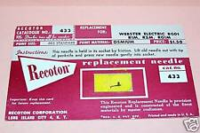 PHONO RECORD PLAYER NEEDLE for Webster RG01 Webster R1M Webster R2M Webster RG1M