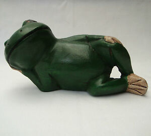 Handcarved Wooden Green Frog Laying Down 23cm long from Thailand New!