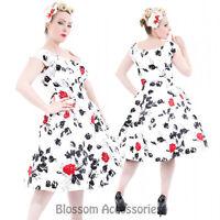 RKH67 Hearts & Roses Rockabilly 50s Vintage Formal Retro Swing Dance Pinup Dress