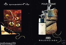 Publicité advertising 1992 (2 pages) Eau de Toilette pour homme Balenciaga