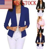 US Ladies Slim Blazer Fit Outwear Business Coat Solid Color Suit Jacket Tops