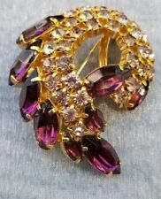 Vintage Juliana Style Brooch with Purple Navettes and Lavender Crystals