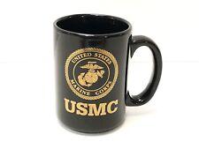 USMC Mug US Marine Corps Coffee Cup Black & Gold Insignia Logo