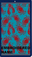 """40"""" x 72"""" Oversized Name Embroidered Beach / Pool Towel With Crab And Lobster"""