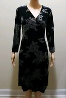 Women Velour Wrap Dress with Back Tie by Apostrophe Stretch  in Black US 10-12