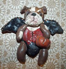 New Halloween Folk Art English Bulldog Dog Vampire Halloween Ornament Vintage