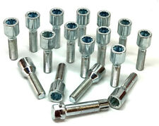 16 x car wheel tuner bolts M12 x 1.5 extended thread 40mm + key - Saab