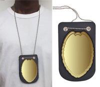 Men's Leather Neck Chain Officer Concealed Carry Badge Holder Shield Hanger