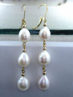 AAA 10-12 MM PERFECT SOUTH SEA WHITE PEARL EARRINGS 14K SOLID GOLD