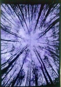 Bedspread Forest Tree Design Cotton Fabric Tapestry Twin Size Purple Color
