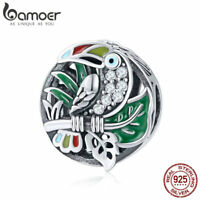 Bamoer 925 Sterling Silver forest Cute Enamel Toucan charm With Cz Fit Bracelet