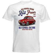 VINTAGE Francese AUTO RENAULT DAUPHINE reale Potere-Nuovo T-shirt di cotone