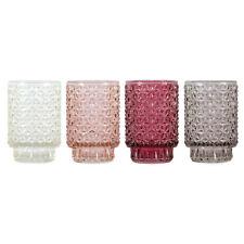 Teelichthalter Set 4 tlg. Glas Ø 8,5 cm / Windlicht, Strukturglas, Gläser