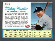 1962 POST CEREAL #5  Mickey Mantle  YANKEES  ( No Ad on Back ) ( Box )  EX-MT  A