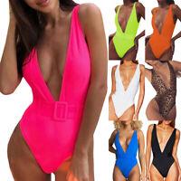 Ladies Plunge V-Neck Bikini Backless Swimwear Monokini Swimsuit Bathing Suit L