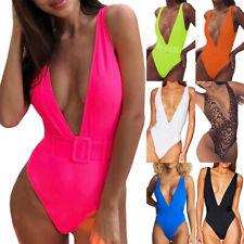 Damen Monokini Schnalle V-Ausschnitt Badeanzug Einteiler Strand Schwimmanzug Hot